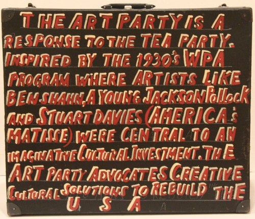 Join the Art Party - Reverse, 2011, Enamel on found suitcase, 26 x 22 x 6 inches