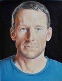 Jim Torok - Lance Armstrong, 2013, oil on wood, 5 x 3 7/8