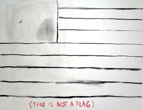 "Jim Torok - ""This Is Not A Flag,"" 2005-17, Acrylic on panel, 36 x 47.5 inches"