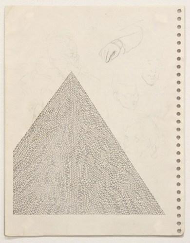 """Annie Vought - """"The author is revealed in spite of himself,"""" 2017, graphite on hand cut paper taken from the artist's late father's sketchbook, 11 x 8.5 inches"""