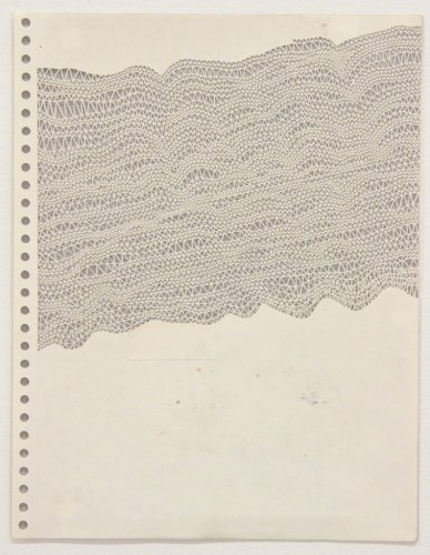 "Annie Vought - ""People enjoy cocktail parties where the conversation is light and inconsequential,"" 2017, graphite on hand cut paper taken from the artist's late father's sketchbook, 11 x 8.5 inches"