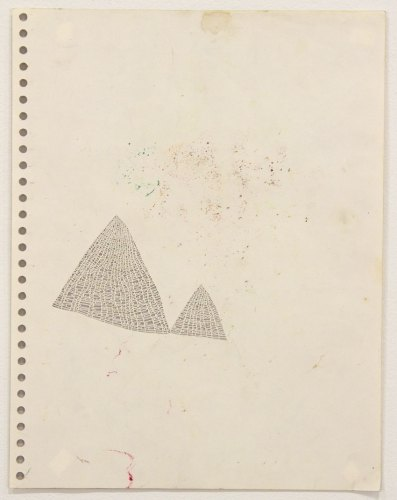 """Annie Vought - """"I regret being absent at what looks to have been a good time to convey my support,"""" 2017, graphite on hand cut paper taken from the artist's late father's sketchbook, 11 x 8.5 inches"""