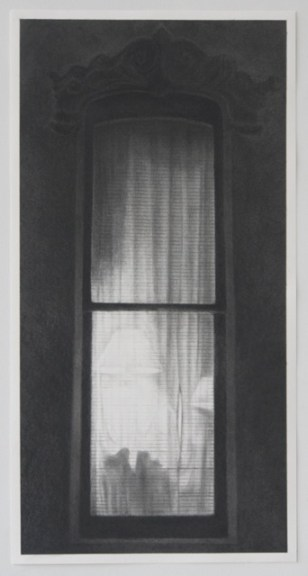 """""""Window 1 (Drawing for painting)"""" 2014, Graphite on paper"""