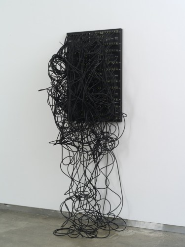 """Addie Wagenknecht (bitforms gallery) - """"Kilohydra 2,"""" 2014, Custom designed PCB boards, ethernet patch cables, 80/20 aluminum, 31.5 x 39.25 inches Photo credit: John Berens Courtesy of bitforms gallery"""