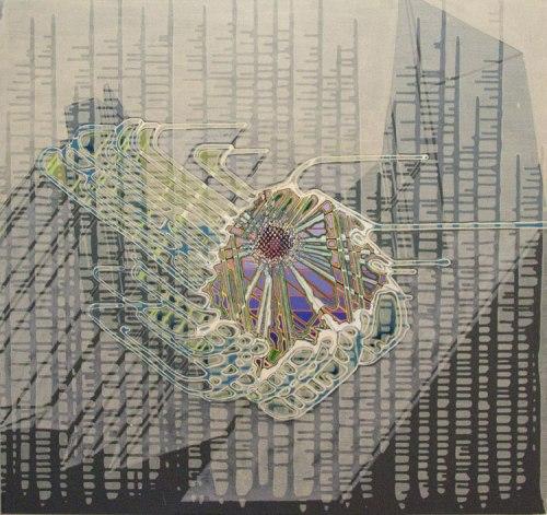 "Sarah Walker - ""Cassini,"" 2012, Acrylic on panel, 36 x 38 inches"