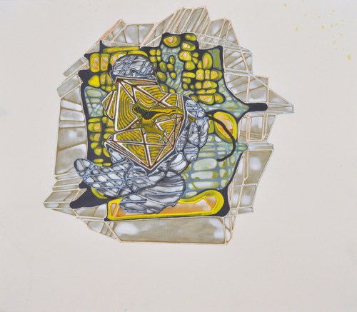 """Sarah Walker - """"Spiderpool IV,"""" 2011, Acrylic on paper, 22 x 25 inches"""