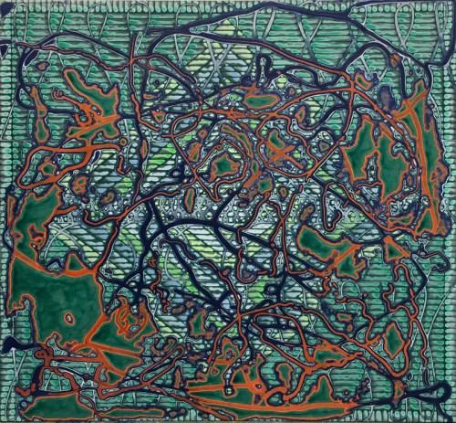 "Sarah Walker - ""The Hidden Hand,"" 2021, Acrylic on linen, 36 x 38 inches"