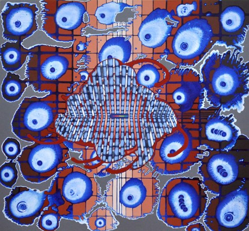 "Sarah Walker - ""Zero Point,"" 2015, Acrylic on panel, 26 x 28 inches"