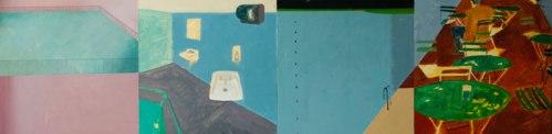 """Yipei Wen and Ye Ji - """"Collaborative Project No. 1 with Yipei Wen,"""" 2013, Acrylic on Panel, 12 x  48"""