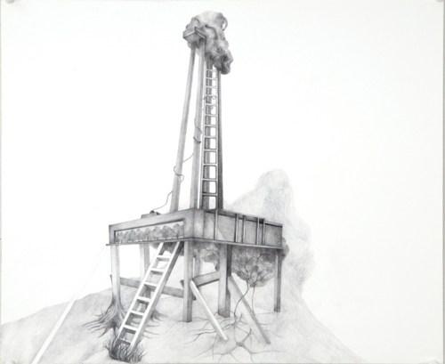 "Mika Yokobori - ""Angular Tower,"" 2013, Pencil on paper, 18 x 11 inches"