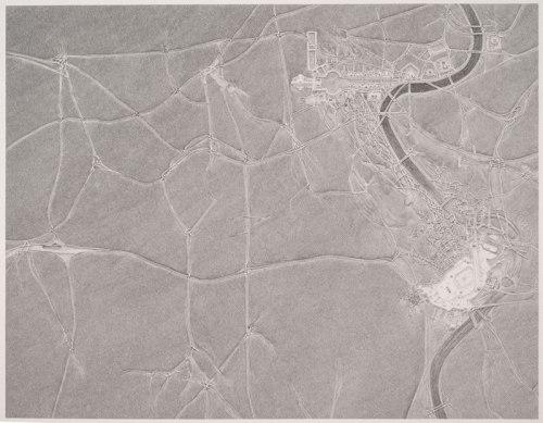 "Daniel Zeller - ""Vatican / Masjid al-Haram,"" 2012, Graphite on paper, 40 x 50 inches"