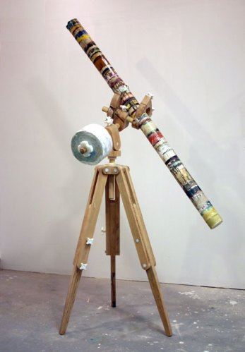 Nicholas des Cognets - Lonely Business, 2011, mixed media with oak, 96 x 67 x 36 inches