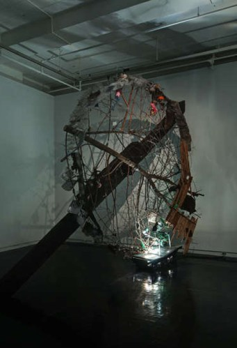 Will Machin - Thicket, 2011, railroad ties, tree, thornbushes, overhead projectors, mixed media, 11 ft x 15 ft x 2.5 ft