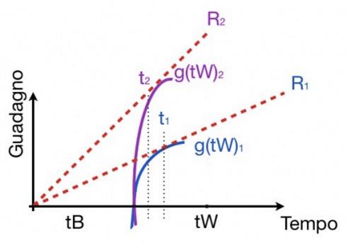 Se tB è costante, vediamo come al cambiare della funzione di g diminuisca il tempo speso nelle patch