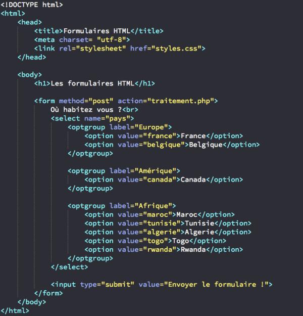 Les types d'input et l'élément select en HTML