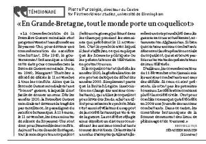 Entretien, La Croix, 13 novembre 2010