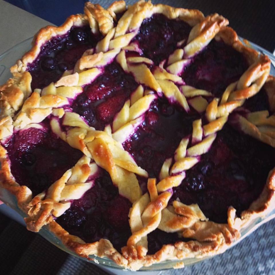 Berry Pie with braids: Raspberry, Cherry and Blueberry