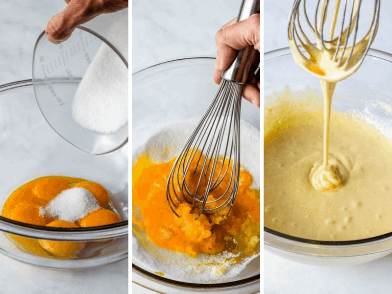 whisking egg yolks and sugar to make custard