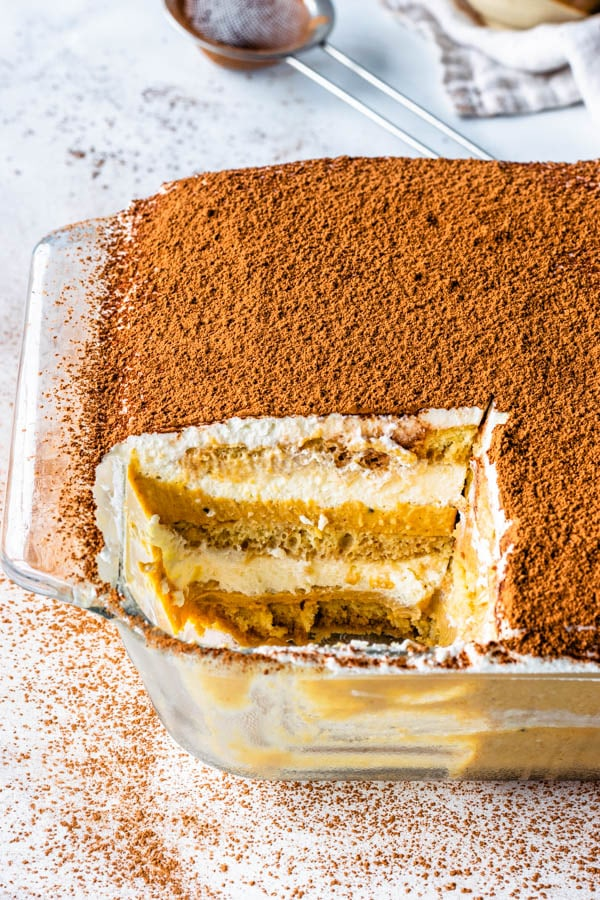 homemade pumpkin tiramisu with powdered sugar on top