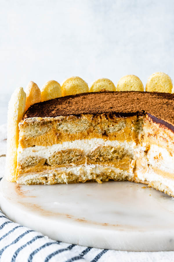 pumpkin tiramisu sliced