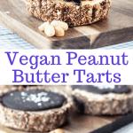 vegan peanut butter tarts with vegan ganache