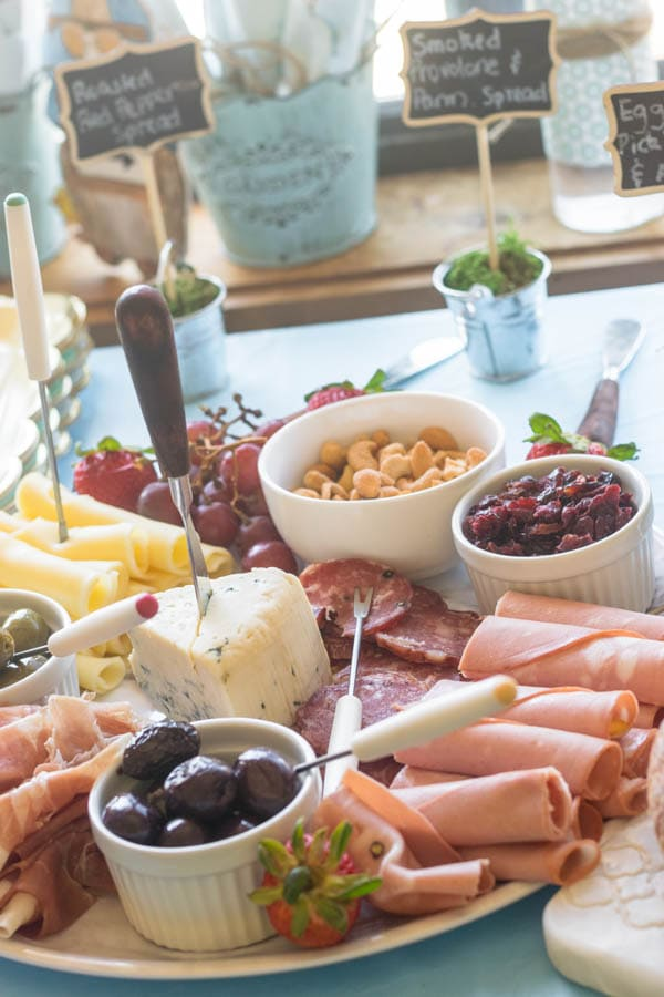 charcuterie board for a garden party