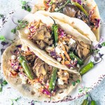 vegetarian tacos with mushrooms and Serrano chili peppers