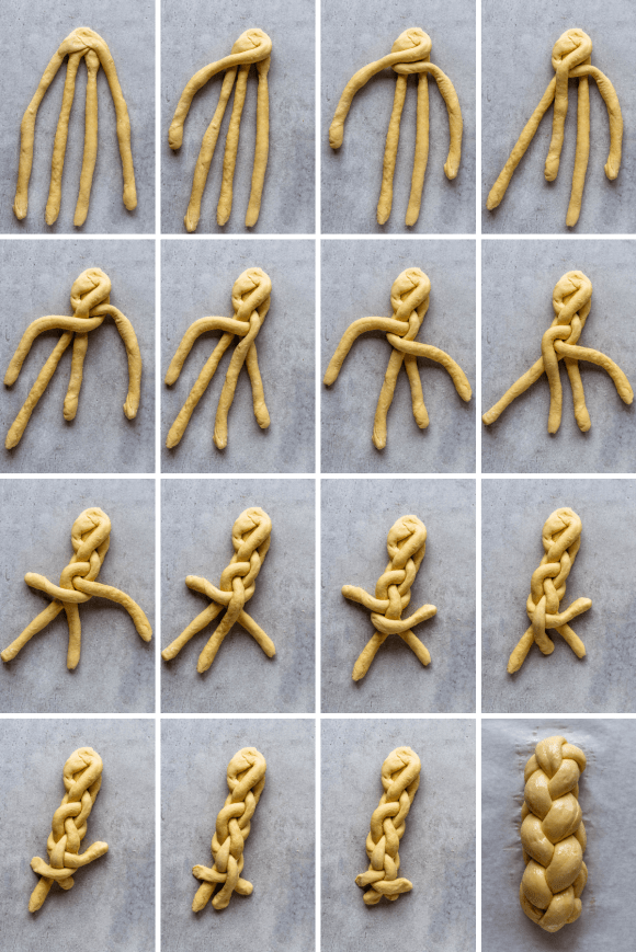 a set of 16 pictures showing how to braid challah bread.
