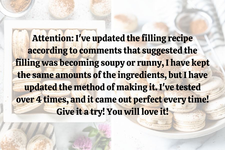 image containing the following text: Attention: I've updated the filling recipe according to comments that suggested the filling was becoming soupy or runny, I have kept the same amounts of the ingredients, but I have updated the method of making it. I've tested over 4 times, and it came out perfect every time! Give it a try! You will love it!