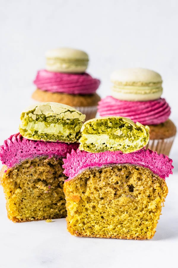 Blueberry Matcha Cupcakes