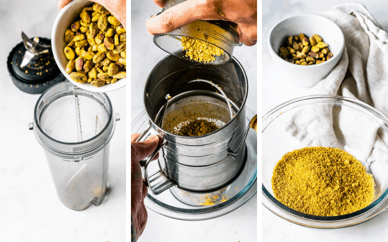 making pistachio flour