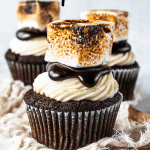 Hot Chocolate Cupcakes topped with homemade marshmallow