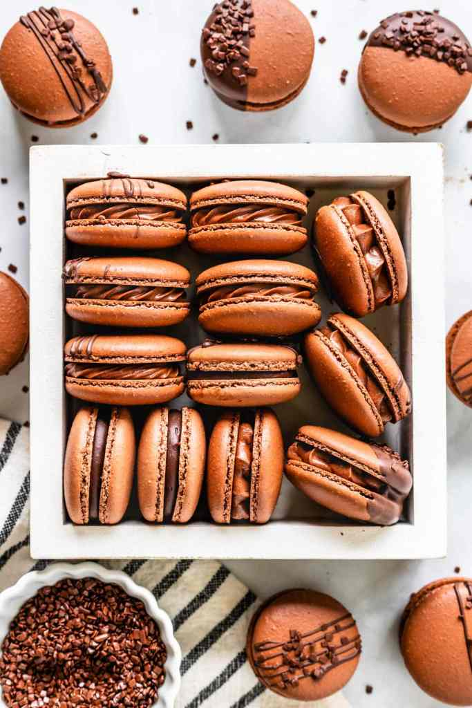 chocolate macarons filled with chocolate buttercream in a white box, seen from the top
