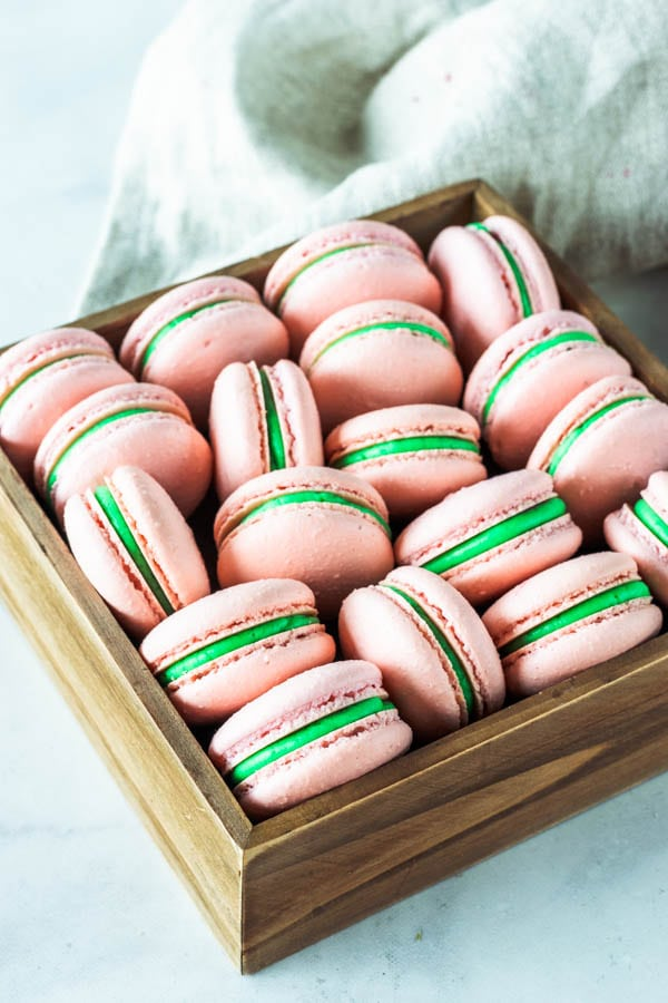 Strawberry Mint Macarons
