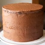 Chocolate Raspberry Layer Cake crumb coat