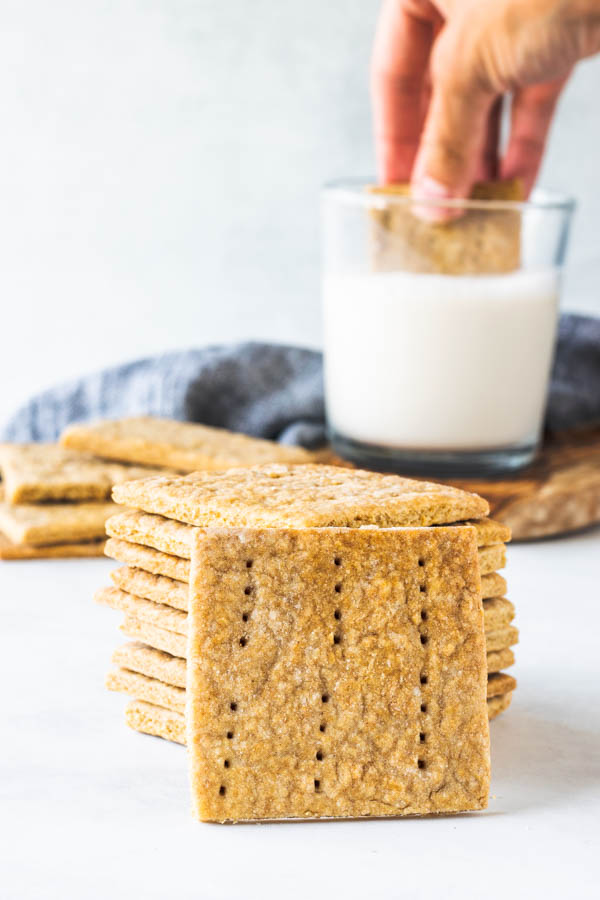 dunking vegan graham crackers in milk