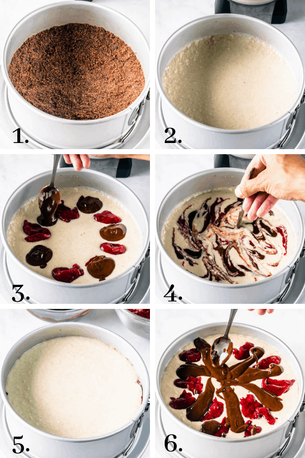 process pictures on how to assemble vegan raspberry cheesecake