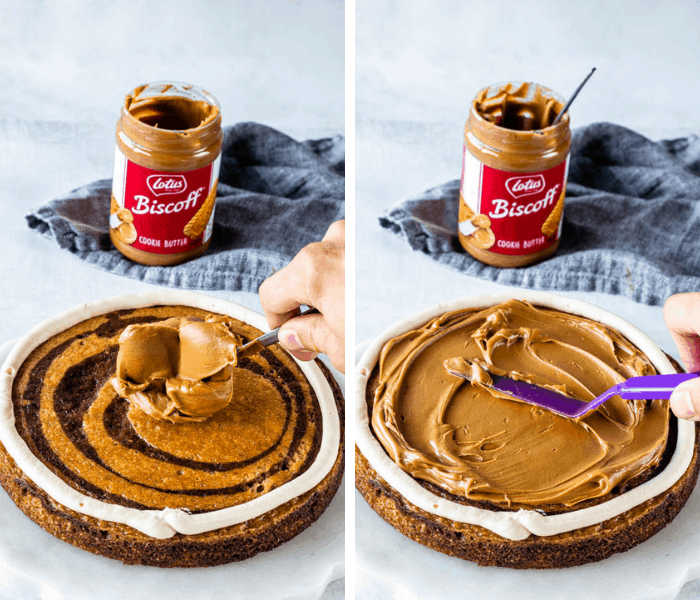 how to fill a biscoff layer cake with biscoff