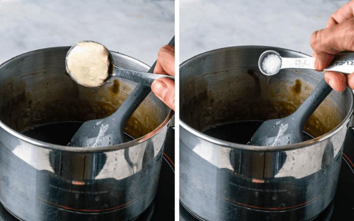 adding butter and salt to balsamic caramel