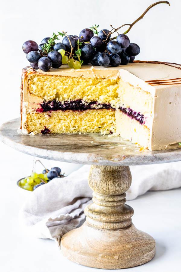 grape balsamic caramel cake