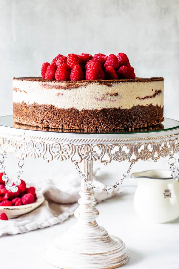 vegan raspberry fudge cheesecake