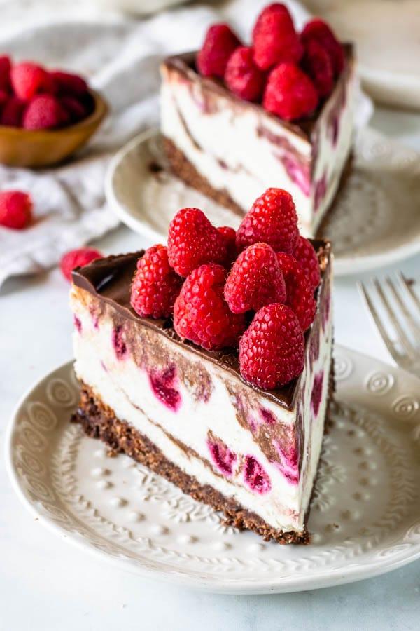 Vegan Fudge Raspberry Cheesecake slice