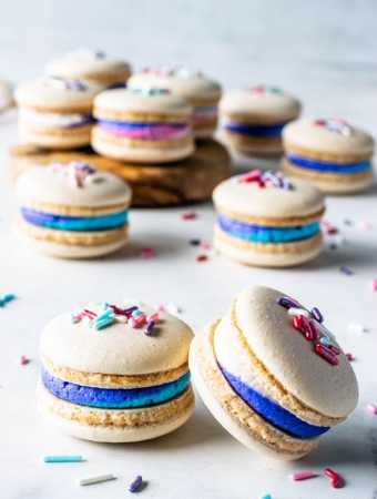 Vegan Vanilla Macarons with Sprinkles and colorful frosting