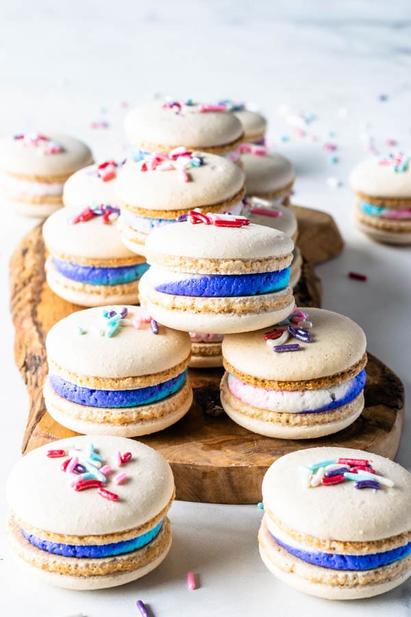 Vegan Vanilla Macarons with Sprinkles on wooden board