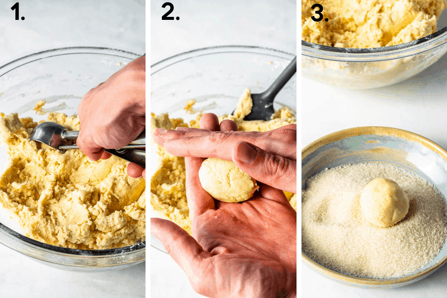 first picture-scooping cookie dough, second picture-forming into a ball rolling between hands, third picture-rolling cookie ball in sugar
