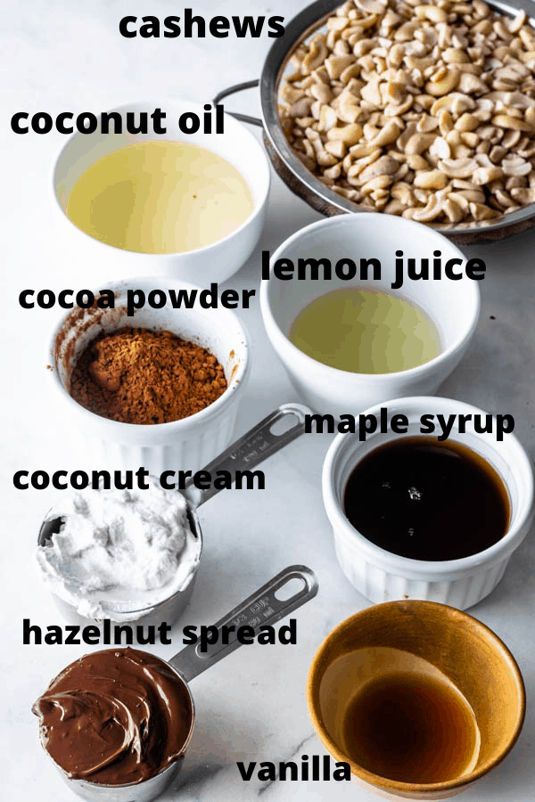 ingredients to make vegan hazelnut cheesecake