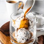 pouring espresso over ice cream to make affogato