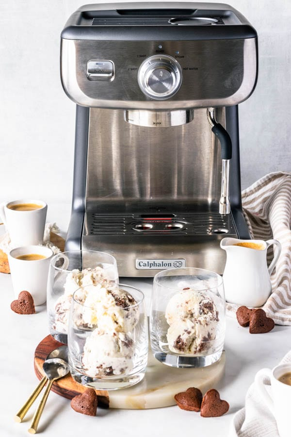 no-churn ice cream in cups showing espresso maker