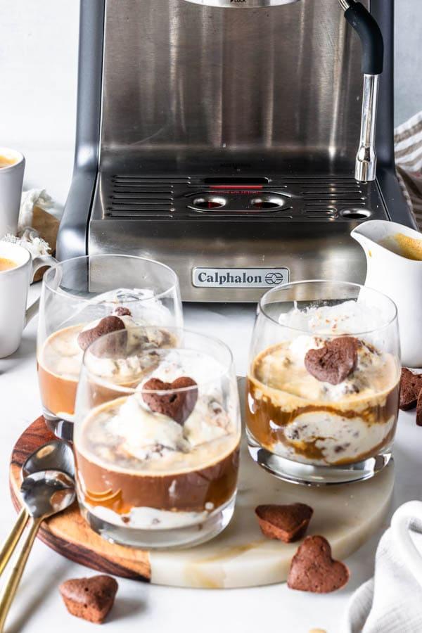 Affogato Recipe, brownie ice cream with an espresso shot