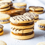 Alfajor Cookies filled with dulce de leche